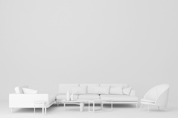White sofa L shape and armchair.3d rendering