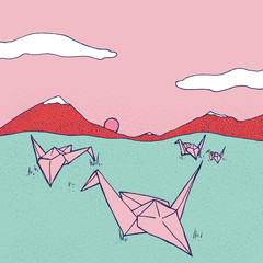 Origami Cranes Grazing In A Mountain Landscape