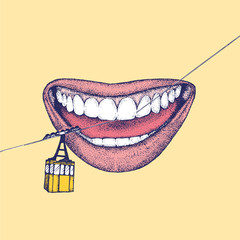 Illustration of lips and gondola lift on dental floss