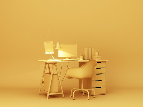 Yellow desk and decoration.3d rendering