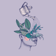 Illustration of watering can pouring over plants growing in head