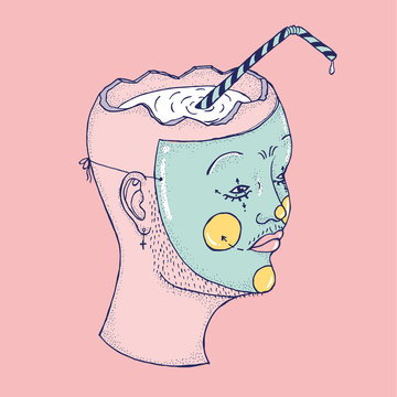 Head With A Mask Filled With A Liquid With A Straw Inside