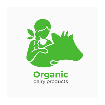 Logo for dairy products with country girl. Vector illustration of milkmaid hugging cow. Green sign for farmers organic food. Symbol with young woman and heifer. Label for milk farm company, bio market