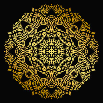 Mandala design. Ethnic round ornament. Hand drawn indian motif. Mehendi meditation yoga henna theme. Unique golden floral print.