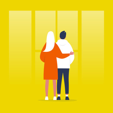 Young couple standing in front of the window. Relationships. Hugging partners. Love. Flat editable vector illustration, clip art