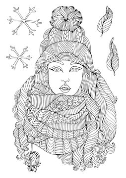 JPEG hand drawn fashion girl in a warm knitted hat and voluminous scarf, autumn winter season. Pattern for coloring book A4 size. Coloring book for adults.