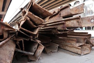 Rusty Steel Larssen Sheet Piles