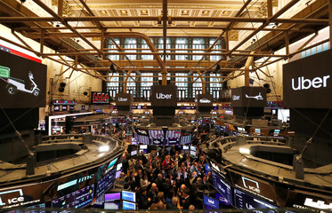 View of main trading floor of NYSE during Uber Technologies Inc. IPO in New York