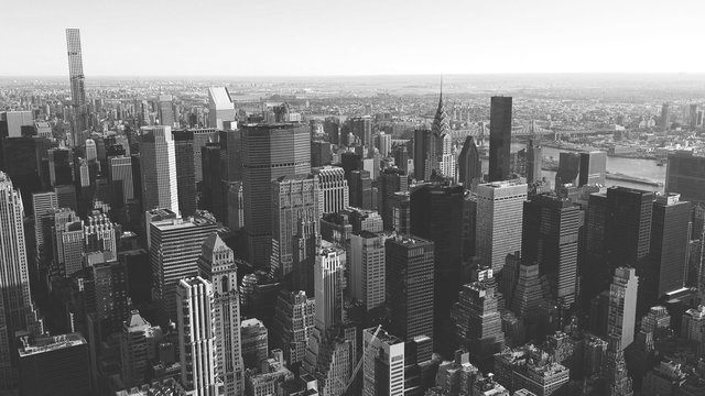 black and white view of Manhattan buildings, New York City, USA