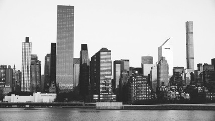 East river and Manhattan in black and white