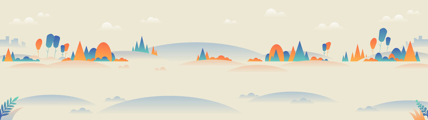 Landscape panoramic background in minimalist style.