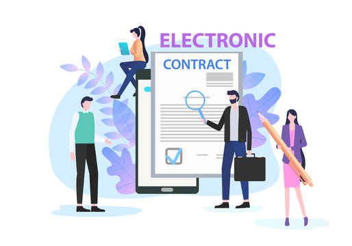 Businessman Study Electronic Contract with Magnifying Glass Vector Illustration. Woman with Pen Document Sign Digital Signature Concept. People Partnership Internet Employment Network Deal