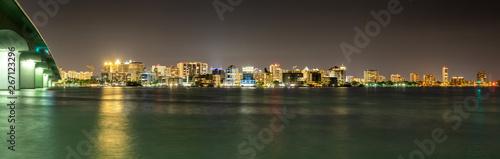 Sticker Sarasota Florida Skyline at Night