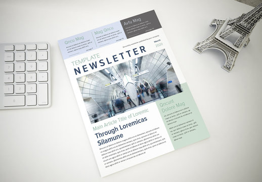 Newsletter with Mint Green and Blue Accents