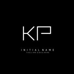 Initial K P KP minimalist modern logo identity vector