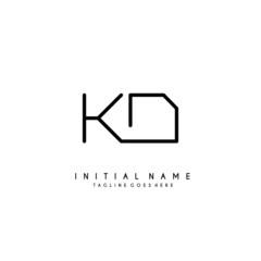 Initial K D KD minimalist modern logo identity vector