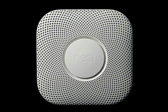 A Nest Protect 2nd Generation Smart Smoke/Carbon Monoxide Wired Alarm is seen in this photograph taken in New York