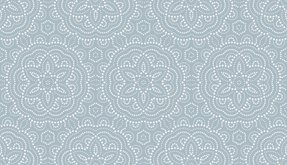 Foto op Canvas Geometrisch Flower geometric pattern. with points Seamless vector background. White and blue ornament. Ornament for fabric, wallpaper, packaging, Decorative print