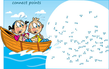 In vector illustration puzzle with cartoon children who are floating in a boat. The task is to connect the dots in order to find out who they have seen at sea.