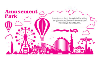 Amusement park - modern vector illustration with place for text. Landscape silhouette. Entertainment concept