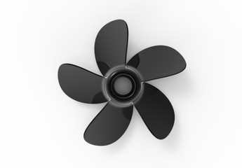 3D rendering / 3D illustration of a black water propeller isolated on white background Wall mural