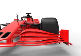 Poster Cars Detailed close up 3D rendering illustration of the front wing of a modern red sports race car isolated in white studio background without stickers