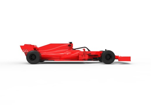 Detailed 3D rendering illustration of the side view of a modern red sports race car isolated in white studio background without stickers