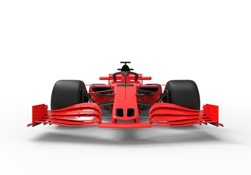 Detailed close up 3D rendering illustration of the front wing of a modern red sports race car isolated in white studio background without stickers