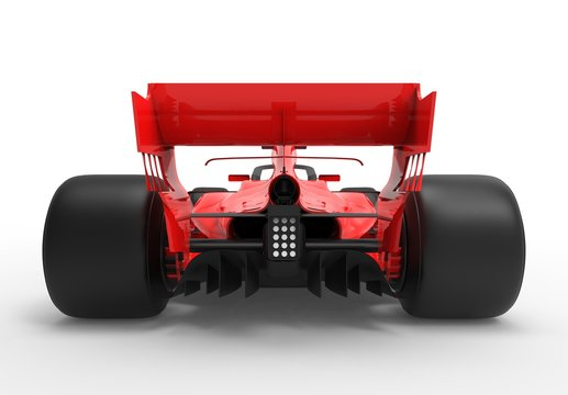 Detailed close up 3D rendering illustration of the rear / back of a modern red sports race car isolated in white studio background without stickers