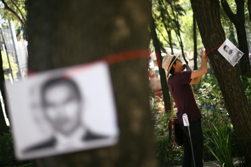 A man hangs a picture of a missing person to a tree as mothers and relatives march to demand justice for their missing relatives on Mother's Day in Mexico City