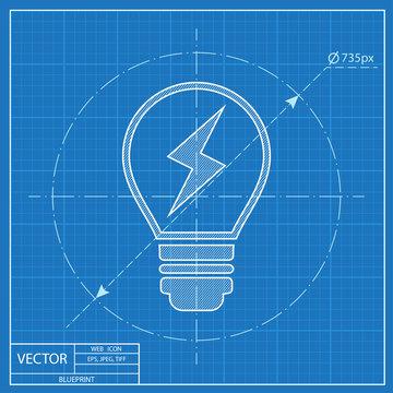 Electric light bulb vector blueprint icon