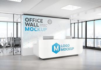 Reception Desk in Modern Office Mockup