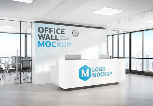 Reception Desk in Modern Office Mockup