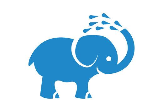 cute blue elephant washing himself illustration on white background