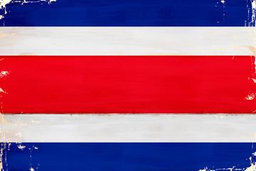Flaga Kostaryki malowana na starej desce. - fototapety na wymiar