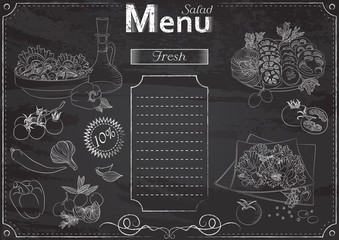 Vector template with salad elements for menu stylized as chalk drawing on chalkboard.Design for a restaurant, cafe or bar