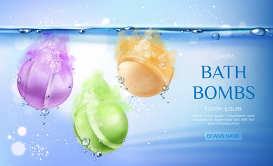 Bath bombs in water, spa cosmetics beauty product for body care, colorful soap balls fizzing in aqua with air bubbles. Cosmetic advertising poster template. Realistic 3d vector illustration, banner.
