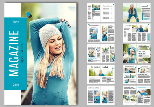 Magazine Layout with Teal Accents