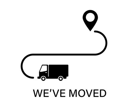 We' ve moved icon with poinre road and truck. New place banner isolated. Sign of new location.