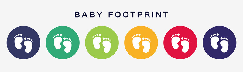 Baby footprint icons. Set of colored circle buttons baby legs boy or girl. Vector illustration.