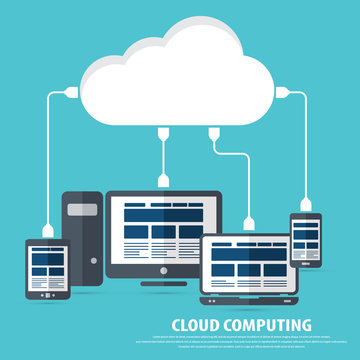 """Cloud computing - Devices connected to the """"cloud"""".AiS10 vector. All elements (background,devices, text ) are in separate layers. Fully editable."""