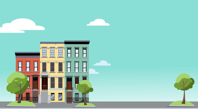 Summer in the city. Horizontal background with colorful cityscape with cozy green trees near two-storied houses. Banner with free space for text. Flat cartoon style illustration.