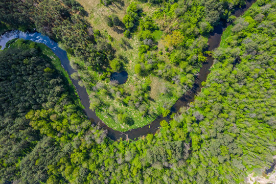 Aerial view of Nida river in Poland. Natural bends