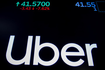 A screen displays the company logo and the trading information for Uber Technologies Inc. after the closing bell on the day of it's IPO at the NYSE in New York