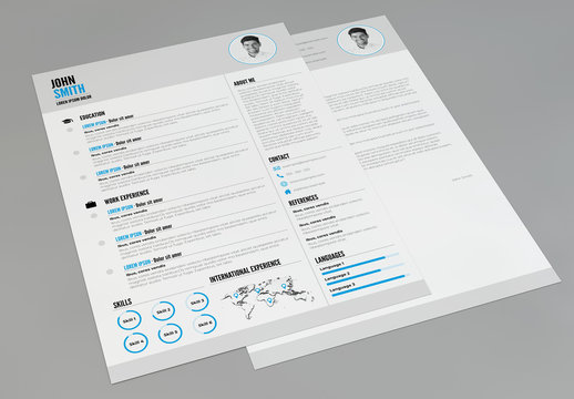 Resume and Cover Letter Layout with Blue Accents