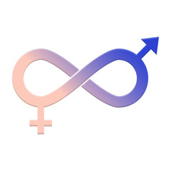 Gender equality icon. Gender isolated symbols on white background. Infinity sign of equality, collaboration, connection, relationship of man and woman . Flat style vector illustration