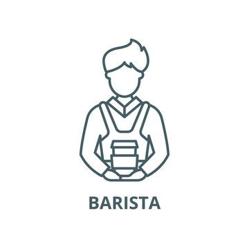 Barista vector line icon, outline concept, linear sign