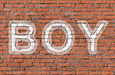 Boy. Inscription on the seamless brickwall.