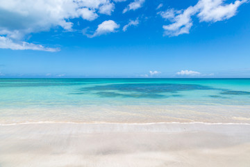 Looking out to sea from an idyllic sandy beach on the island of Antigua