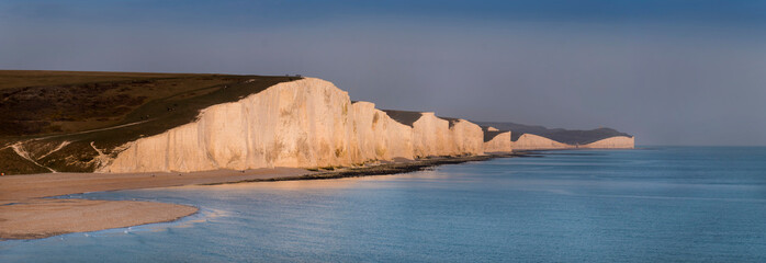 Europe, UK, england, Sussex, Seven Sisters panorama